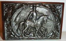 antike Eisen Relief Platte um 1890 Heiliger Georg  Unter fünf Königen
