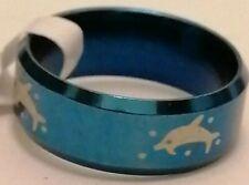 Anillo De Acero Inoxidable. Azul. con imagen de delfín. tamaño 19mm de diámetro.