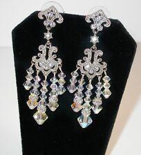 CLEAR AB Crystal Chandelier Earrings Swarovski Elements Silver