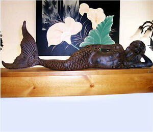 "Reclining Mermaid 26"" Long Cast Iron Rust Finish"