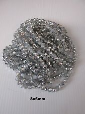 72pcs 8x6mm Electroplate Silver/Clear Faceted ronds GLASS LOOSE BEADS UK