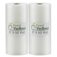 2 Rolls 50' Vacuum Seal Bags for FoodSaver Sealer & Sous Vide | FoodVacBags 4mil