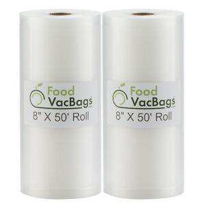 2 Rolls 50' Vacuum Seal Bags for FoodSaver Sealer & Sous Vide | FoodVacBags
