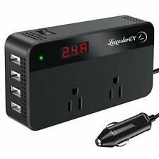 200W Power Inverter DC 12V to 110V AC Car Converter 2 AC Outlets 4 USB Ports Cha
