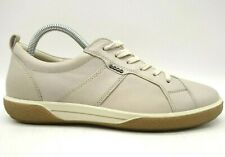 Ecco Logo Beige Leather Casual Lace Up Sneakers Shoes Women's 39 / 8 - 8.5
