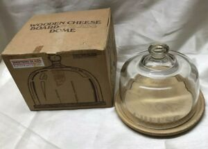 Vintage Boxed Western Glass International Wooden & Glass Dome Cheese Board