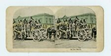 Vintage Stereo view American Soldiers in WWI Horses and Wagons Weapons