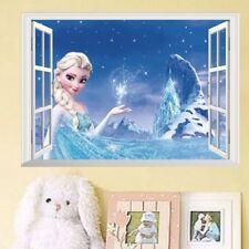 Large 3D Window Frozen Elsa Wall Stickers Decals Kids Room Home Decor Vinyl Art