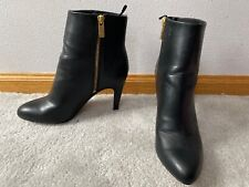 H&M Womens Genuine Leather High Heel Ankle Boots Booties Sz 38 / 7 us Zip Black