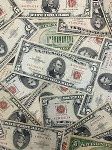 (1) $5 Dollar Red Seal 1953 1963 5 Dollar Note Legal FIVE Bill Lot Estate Sale