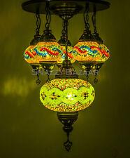 Handmade Turkish Mosaic Lamp - 6 Globe Celestial Series Lime Light Chandelier
