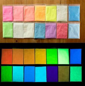 DIY Super Bright Fluorescent Glow in the Dark Glow Pigment Powder 12 Colors