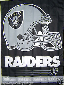 27X37 NEW OAKLAND RAIDERS BANNER WITH FLAG POLE SLEEVE MADE USA