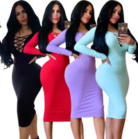 Sexy Women's Clubwear Solid Bandage V-neck Long Sleeve Bodycon Party Dress Skirt