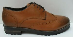 Men's John White Moccamocca Brown Leather Brogue  - Size UK 7 EUR 40 Narrow Fit