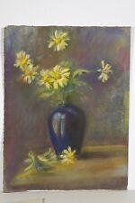Pastel original XX° siècle Bouquet de fleurs jaunes