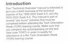 SAAB 9-5  & 9-3 TECHNICAL OVERVIEW / SELF STUDY REFERENCE GUIDE