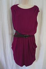 Nine West Dress Sz 8 Peony Purple Street Smart Belted Blouson Casual Rayon Dress