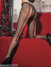 Black Fishnet Pantyhose with Sexy Red Lace Up Back One Size Shirley 90267