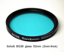 "Schott BG38 52mm x 2mm UV/IR-Cut Filter Visual Bandpass IR Suppress ""Hot Mirror"""