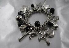 16-3 Bettel Armband Silber 20 Anhänger Münze, Kegel,Kreuz,Blume,Delfin,Perle