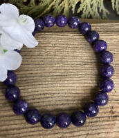 17.5g NATURAL PURPLE CHAROITE CRYSTAL BEAD HEALING BRACELET Reiki RUSSIA