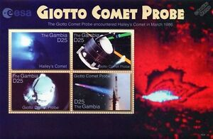 ESA GIOTTO Halley's Comet Spacecraft Probe Space Stamp Sheet (2006 Gambia)