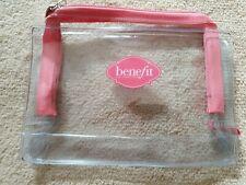 Benefit Cosmetics travel make-up Bag holder. Clear with pink trim. NEW