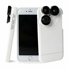 4in1 Camera Lens Kit Fisheye Macro Wide Angle Lens Case For iphone 7 Plus White