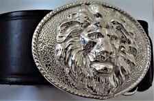 Solid Sterling Silver Lion Head Belt Buckle
