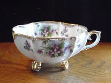 Napco Porcelain Violet Flowers Gold Trim Footed Candy Bowl w/ Handle 6 1/8""