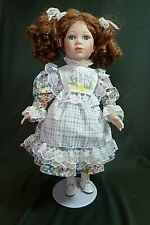 """Fine Porcelain 16"""" Collectors Choice Doll with Auburn Hair and Beautiful Blue Ey"""