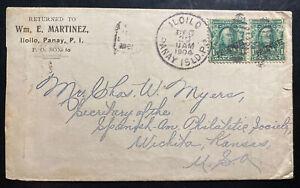1904 Iloilo Philippines Commercial Cover To Wichita KS Usa