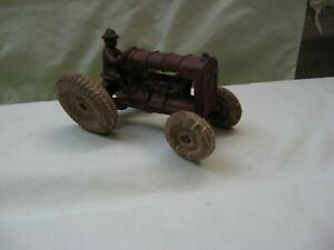 """Vintage CAST IRON TRACTOR w DRIVER / Arcade ? / 5 1/2"""" in Length"""