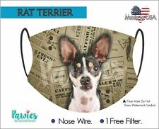 Rat Terrier Face Mask, Made in Usa, Dog Face Mask, 1 Filter Incluided.