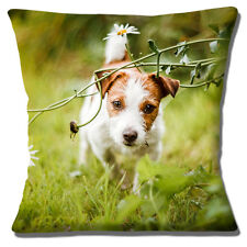 Jack Russell Dog Cushion Cover 16 inch 40cm Cute Tan White Puppy Dog Photo Print