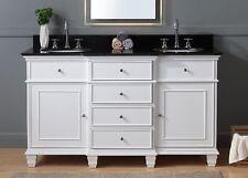 "60"" Elegant White Double Sink Conduit Bathroom Cabinet Vanity Cf-64601Gt"