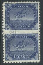 COOK ISLANDS 1893-1900 SG11ba USED VERTICAL PAIR CAT £30