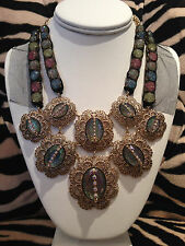 NWT Rare Betsey Johnson Mesh Crystal Prom Party Antique Gold Statement Necklace
