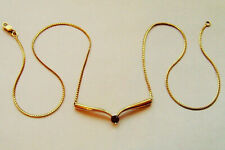 9ct Gold Herringbone Necklace or Chain With Amethyst Pendant Fully Hallmarked