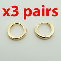 3 Pairs 18k yellow Gold plt huggie 10mm sleeper earrings Non-allergenic AUS MADE