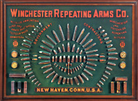 WINCHESTER REPEATING ARMS TIN SIGN AMMUNITION AMMO CALIBER BULLET GUN RANGE