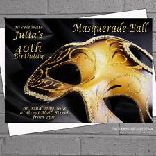 Black Gold Masquerade Masked Ball Birthday Party Invitations x 12 + envs