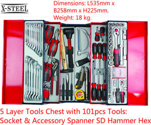 5 Layer Tools Chest with 101pcs Tools: Socket & Accessory Spanner SD Hammer Hex