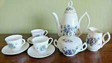 Vintage 1960's Purple Violets Children's China Porcelain Toy Tea Set - Japan