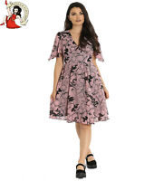 Hell Bunny Fiona Mid Dress Floral Roses Snake Moon Chiffon Dusky Pink Snake