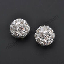 Big Hole Crystal Rhinestone Pave Round Ball Spacer Beads Steady Metal Pick