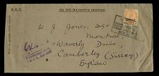 INDIA 1940 OFFICIAL OHMS 2A6p SOLO SERVICE OPT to CAMBERLEY GB UNCENSORED
