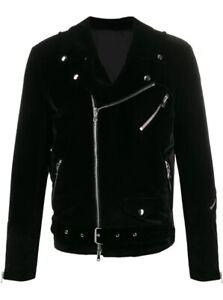 Men Black Velvet Biker Gothic Classic Steampunk Motorcycle Designer Jacket