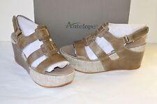 New $195 Antelope Style 859 Grey Leather Wedge Sandal sz 41/10 Platform